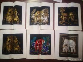 大象图案适宜装框的丝织品画心