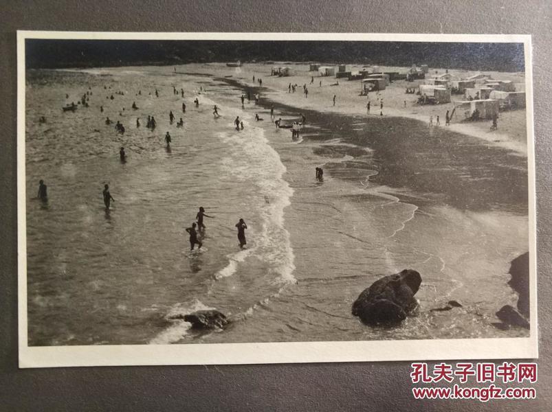 香港沙龙摄影照片一张1940或1950年代海滩
