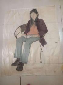 绢布---工笔美女图   85*103 厘米(老画娟有些脆,折叠处有小破损。)画工一绝。