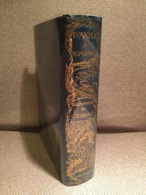 Ivanhoe: A Romance(斯各特《撒克逊劫后英雄传》,C. E. Brock彩色插图,神采飞扬,布面精装烫金花饰,毛边,1900年珍贵美国初版)