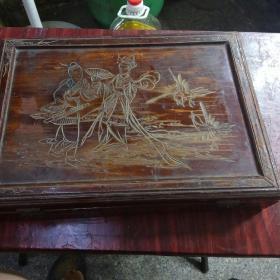 7080年代麻将一副带精美木雕盒一个