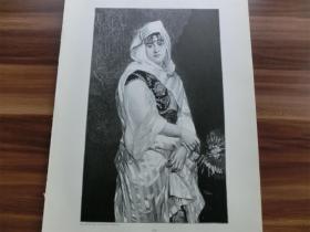 【现货 包邮】1890年木刻版画《美丽的后宫》(Eine Haremes Schönheit)尺寸约41*28厘米 (货号 M3)