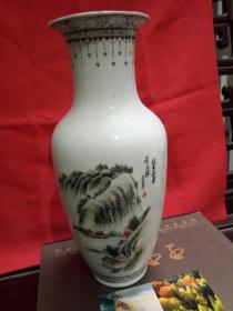 景德镇手工彩绘山水老花瓶(白云深处有人家,辛酉年)