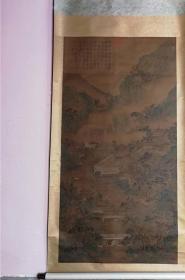明 仇英 款 青绿山水图 绢本 挂轴  175x90cm 真手绘 非复制品 买家自鉴