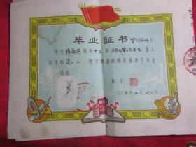1963年江苏省启东县毕业证书《毕业于杭州望江门小学》