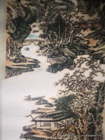 植绒画:竖轴 山水画  80年代装饰画,产地河南