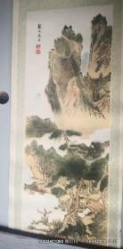 植绒画:竖轴 山水画二 戴文进法  80年代装饰画,产地河南