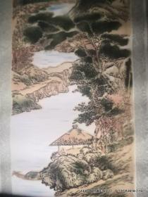 植绒画:竖轴 山水画三 刘松年法  80年代装饰画,产地河南