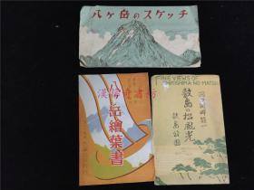 民国时期日本八岳本泽温泉、敷岛之松风景明信片计15张合售。素描画、风景照、富士山远景等