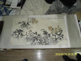 装裱国画----竹菊图    题款印章自辩   画芯长99  宽53  厘米   全长148 宽65  厘米