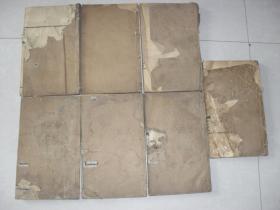民国木刻即墨杨氏族谱7册一套全29*17*10厘米,年代久远保存欠佳品差缺页