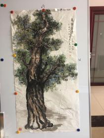 陕西著名画家贺宏茹精美国画一幅136*69CM:万古长青 纪念鲁迅先生逝世70周年