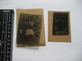【珍罕】老玻璃底片:五十年代手工上色军人合影及儿童一家的共2块