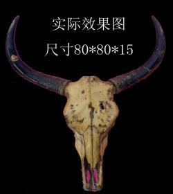天然牛头骨图腾——西藏毛牛头骨和角——尺寸80*80*15(公分