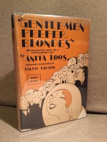 Gentlemen Prefer Blondes(阿尼塔·鲁斯《绅士爱美人》,名家Ralph Barton插图,难得带护封,布脊精装,1926年老版本)