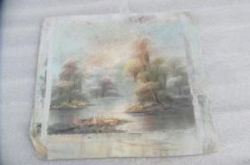 手工画湖景油画一张18050533O