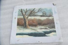 手工画雪景油画一张18050534O