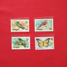 外国邮票北美洲安提瓜和巴布达共和国鸟蝴蝶彩色动物昆虫树枝邮票收藏珍藏