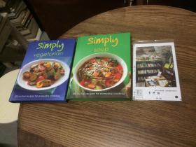 2本合售:英文原版   Simply Vegetarian + Simply Soup : 100 no fuss recipes for everyday cooking  简单素食+简单汤 【存于溪木素年书店】