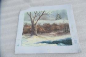 手工画雪景油画一张18050535O