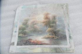 手工画日出湖景油画一张18050536O