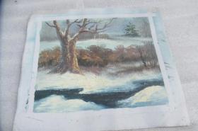 手工画雪景油画一张18050537O