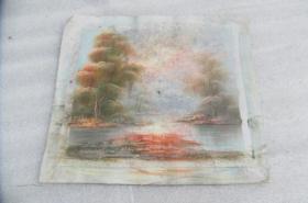 手工画湖景油画一张18050539D