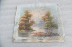 手工画日出湖景油画一张18050540D