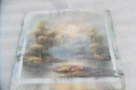 手工画日出湖景油画一张18050541D