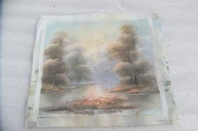 手工画日出湖景油画一张18050542D