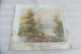 手工画日出湖景油画一张18050543D