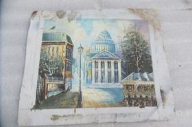 手工画街景油画一张18050547D