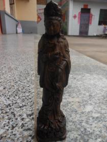 沉香木雕摆件,观音像,雍容大度,吉祥如意,连花底座。高15cm*底座4cm
