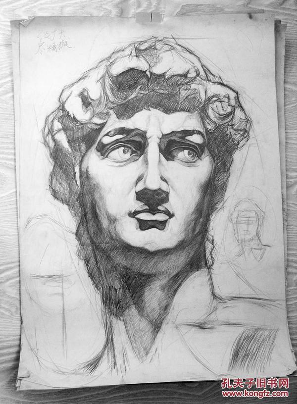 """鲁美学生:绘制的石膏素描作品""""大卫"""""""