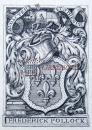 """""""英国维多利亚时期藏书票大师""""—舍邦(C W Sherborn)铜版贵族纹章藏书票 1888怀旧作品"""
