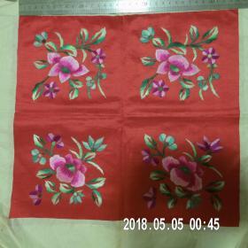 民国花卉绣片(包老包真,尺寸34厘米*31.5厘米)