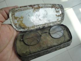 老民国水晶眼镜原装铝盒中国精益眼镜公司