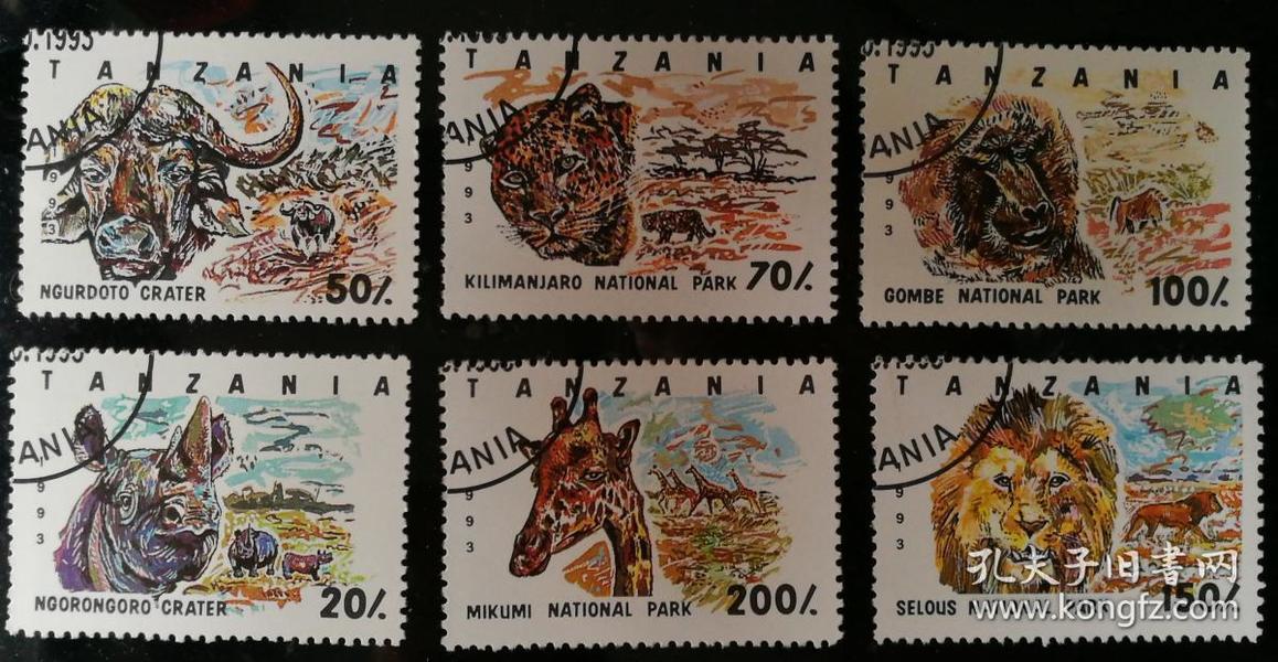 """外邮:1993年,坦桑尼亚""""野生动物""""邮票(6全,盖销)"""