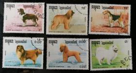 """外邮:1990年,柬埔寨""""宠物""""邮票(6全,盖销)"""