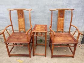 海南黄花梨官帽椅四出头老木器家具