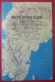 National Geographic国家地理杂志地图系列之1971年10月 Arctic Ocean 北冰洋海底地形图