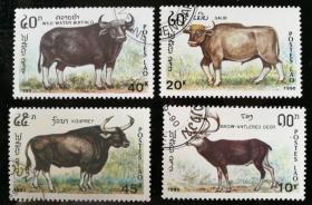 """外邮:1990年,老挝""""牛""""邮票(4全,盖销)"""