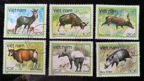 """外邮:1988年,越南""""野生动物""""邮票(6全,盖销)"""