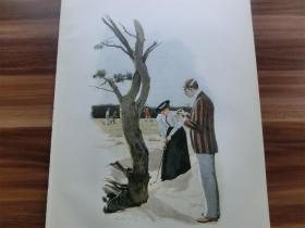 【百元包邮】1890年套色木刻版画《打高尔夫的女子》(Golf)  尺寸约41*28厘米  (货号 M3)