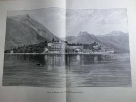 【现货 包邮】1890年巨幅木刻版画《秀丽的达尔加湖山水景观》意大利面积最大的湖泊, 约在威尼斯和米兰的半途之间,坐落于阿尔卑斯山南麓,在上一次冰河时期结束时因为冰川融化而形成。(Isola di Garda mit dem Gebirgspanorama) 尺寸约56*41厘米 (货号100833)
