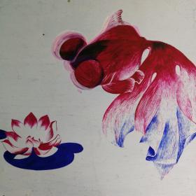 八十年代南京手帕厂手绢图案画稿手绘原作