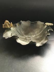 精品古玩收藏铜器荷叶笔洗摆件