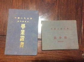 中国人民大学教师研究班 毕业证书 何寿枢 证书  带人民大学记分册