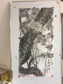 云南画家罗辉精美国画一幅67*136CM:风雨同舟