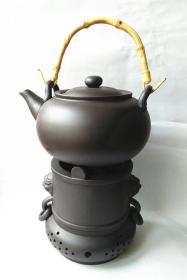 紫砂兽面带环茶炉+茶壶
